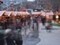 Christmas Market with many people - timelapse