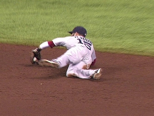 Pedroia flashes the leather