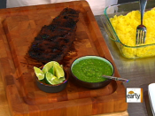 Grilled corn,  skirt steak tacos, and grilled pineapple