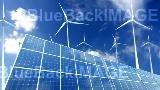 映像素材 Solar Panel Wind Turbine A1CW